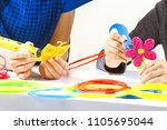 kids hands with 3d pens and... | Shutterstock . vector #1105695044