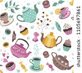 tea time seamless pattern. tea... | Shutterstock .eps vector #1105697861