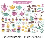 tea time elements collection.... | Shutterstock .eps vector #1105697864