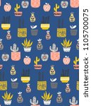 pattern with cute little... | Shutterstock .eps vector #1105700075