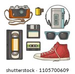 set retro technology object.... | Shutterstock .eps vector #1105700609