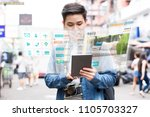 asian tourist backpacker using... | Shutterstock . vector #1105703327