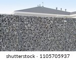 newly build gabions fence | Shutterstock . vector #1105705937