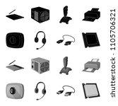 webcam  headphones  usb cable ... | Shutterstock . vector #1105706321