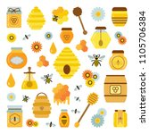 organic honey products icon set.... | Shutterstock .eps vector #1105706384