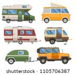 travel cars collection. rv... | Shutterstock .eps vector #1105706387