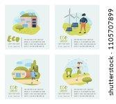 green town poster set.... | Shutterstock .eps vector #1105707899