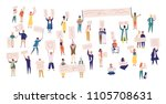 crowd of protesting people... | Shutterstock .eps vector #1105708631