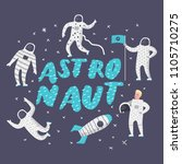 astronaut characters set with... | Shutterstock .eps vector #1105710275