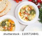 minestrone soup. vegetable soup ... | Shutterstock . vector #1105714841