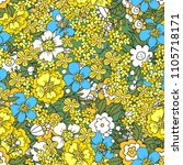 seamless pattern with flowers ... | Shutterstock .eps vector #1105718171
