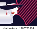 fashion woman in style pop art. ... | Shutterstock .eps vector #1105725134