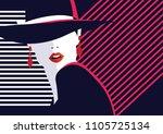 fashion woman in style pop art. ...   Shutterstock .eps vector #1105725134