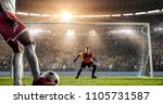 soccer player is trying to... | Shutterstock . vector #1105731587