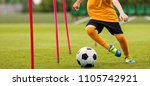 soccer player with soccer ball... | Shutterstock . vector #1105742921