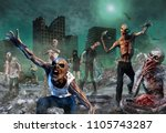 zombie scene 3d illustration | Shutterstock . vector #1105743287