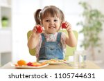 healthy kids nutrition concept. ... | Shutterstock . vector #1105744631