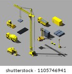 construction vehicles and... | Shutterstock .eps vector #1105746941