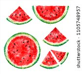 set of whole  half and slices... | Shutterstock .eps vector #1105748957