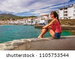 tourist woman in cadaques ... | Shutterstock . vector #1105753544