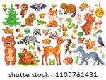 Stock vector vector set with animals and birds in a children s style collection of insects and mammals in 1105761431