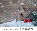 Wooden Christmas Star On Wooden ...