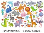 vector set with animals. cute...   Shutterstock .eps vector #1105763021