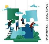 office cooperative teamwork.... | Shutterstock .eps vector #1105763921
