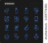 Hands Gestures Thin Line Icons Set: Handshake, Easy Sign, Single Tap, 2