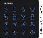 hands gestures thin line icons... | Shutterstock .eps vector #1105776581