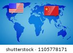 usa and china at the blue world ...   Shutterstock .eps vector #1105778171
