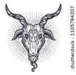 pentagram in the head of demon... | Shutterstock .eps vector #1105784207