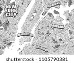 new york city district map.... | Shutterstock .eps vector #1105790381