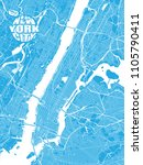 blue map of new york city with... | Shutterstock .eps vector #1105790411