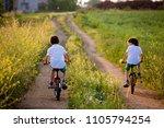 sporty children  boy brothers ... | Shutterstock . vector #1105794254