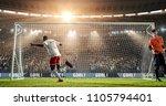soccer player is celebrating... | Shutterstock . vector #1105794401