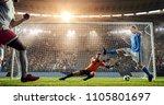attacker scores a goal  sending ... | Shutterstock . vector #1105801697