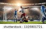 attacker scores a goal  sending ... | Shutterstock . vector #1105801721