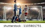 attacker scores a goal  sending ... | Shutterstock . vector #1105801751
