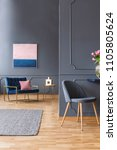 real photo of a grey  spacious...   Shutterstock . vector #1105805624