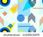 memphis seamless pattern.... | Shutterstock .eps vector #1105815695