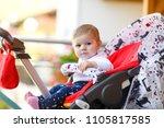 cute little beautiful baby girl ...   Shutterstock . vector #1105817585