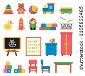 various toys for preschool kids.... | Shutterstock .eps vector #1105833485