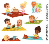 funny kids in park. picnic...   Shutterstock .eps vector #1105833497