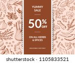 vector hand drawn herbs and... | Shutterstock .eps vector #1105833521