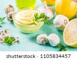 homemade mayonnaise sauce with... | Shutterstock . vector #1105834457