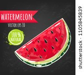 watermelon. fresh fruit bright...   Shutterstock .eps vector #1105845839