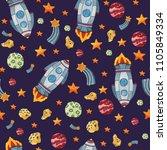 seamless space pattern.... | Shutterstock . vector #1105849334