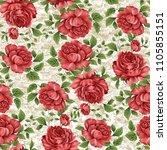 watercolor flower pattern | Shutterstock . vector #1105855151