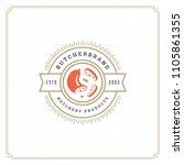 butcher shop logo design vector ... | Shutterstock .eps vector #1105861355